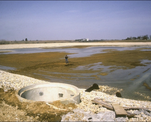 A lagoon drained by a sinkhole near Garnavillo, Iowa.