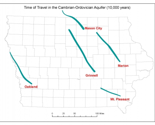 Map of Iowa showing travel times for water in several aquifers.
