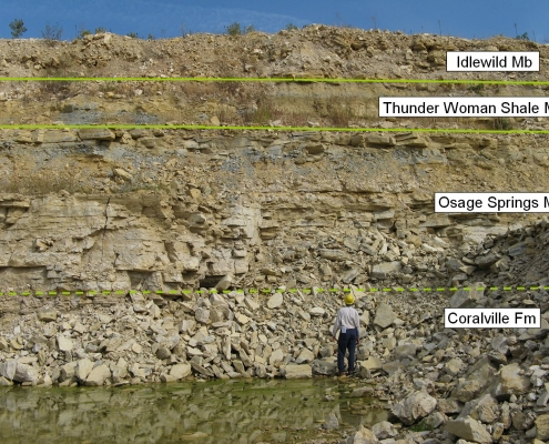 A cliff side with a cross section visible showing the stratigraphy. A man stands in front of it.