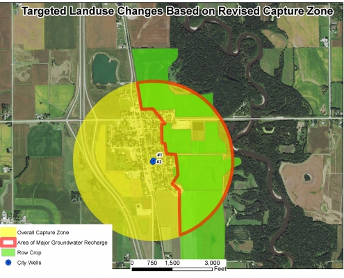 Graphic representation of the Plainfield capture zone and recharge area
