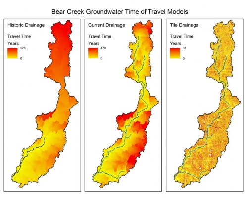 Three different drainage configurations for spatial distribution of travel times in Beer Creek