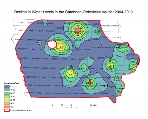 Colorful map of Iowa showing the decline in water levels in the Cambrian-Ordovician Aquifer between 2004 and 2013
