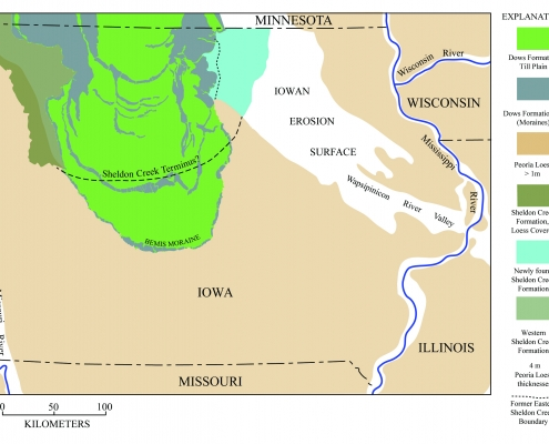 Colorful map of Sheldon Creek formation in Iowa.