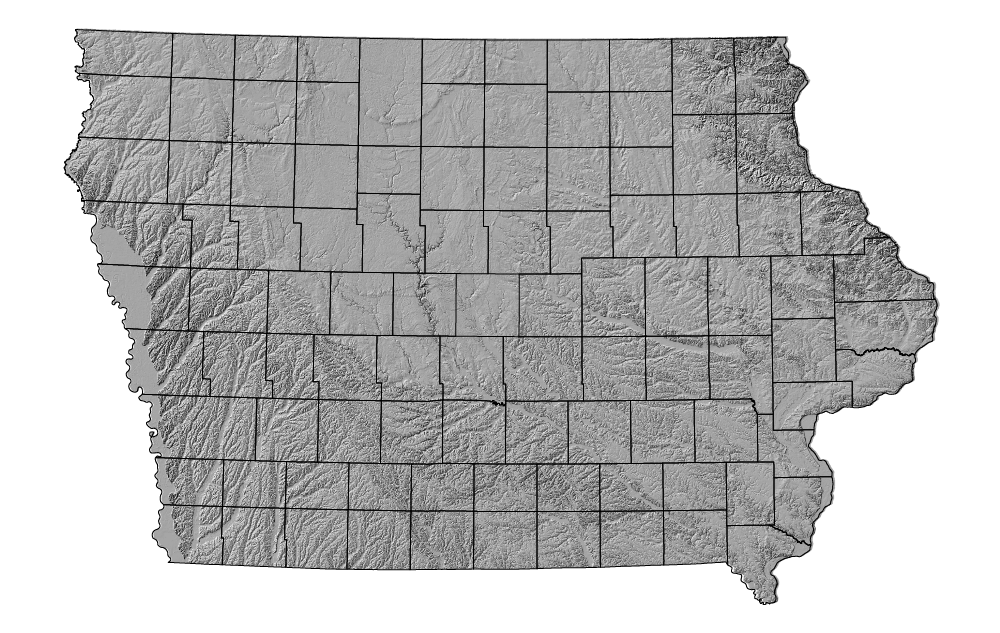 A grey topographic map of Iowa including counties
