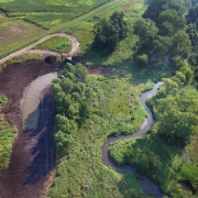 A creek and a restored oxbow from above