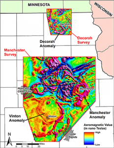 Colorful map showing northeast Iowa mineral resources