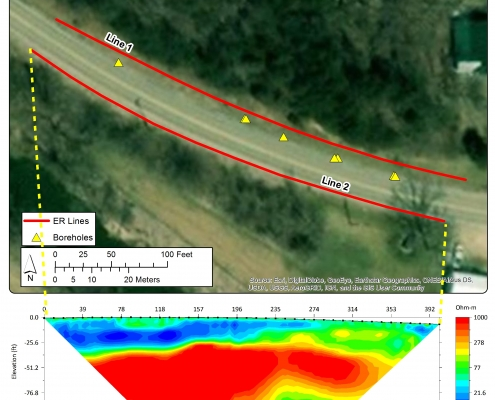 Colorful geophysics graphic illustrates subsurface conditions