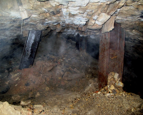 View of the underground beer cave revealed by the sinkhole