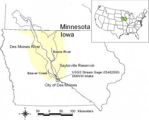Map of the Des Moines River Basin