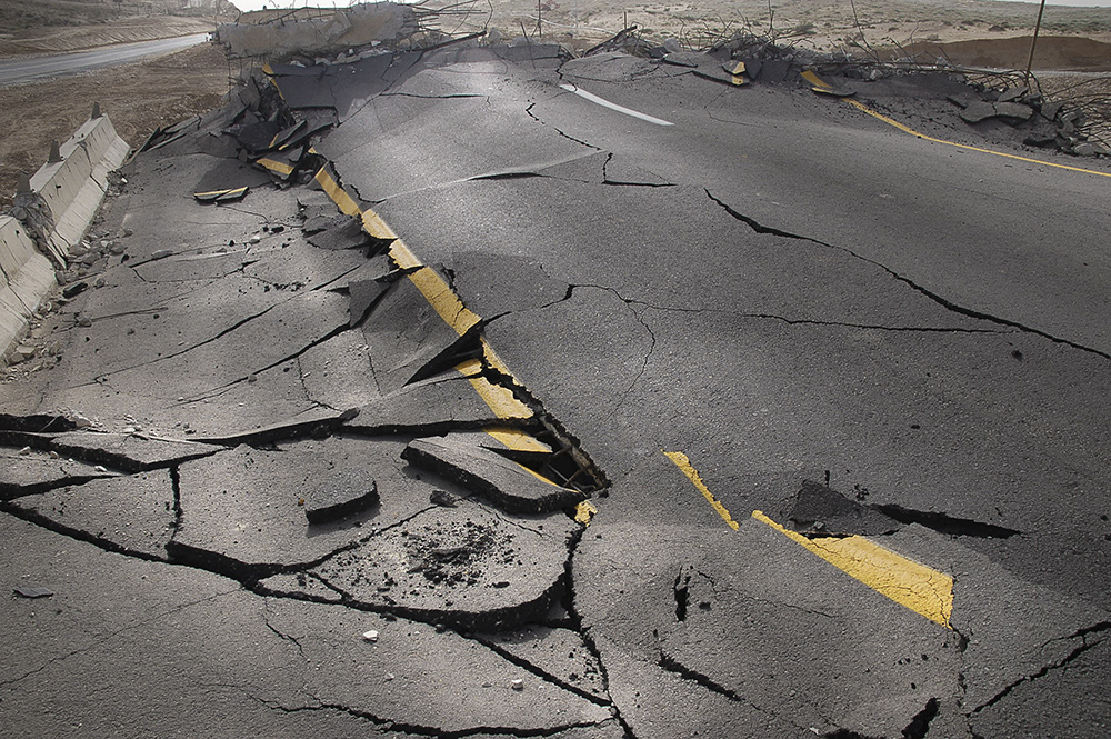 Shattered highway after an earthquake