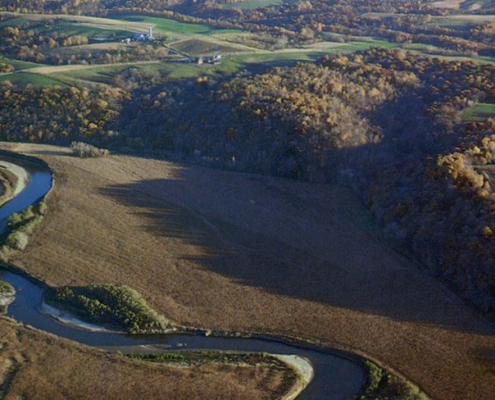 Aerial view of the landscape near the twisting, winding Turkey River in Iowa's Clayton County