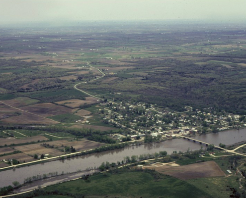 Aerial view of Augusta, Iowa, on the Skunk River in Des Moines County