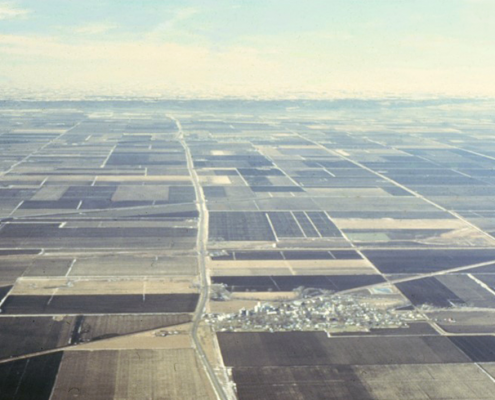 Aerial view of the checkerboard-like agricultural landscape in the Missouri River Floodplain in western Iowa