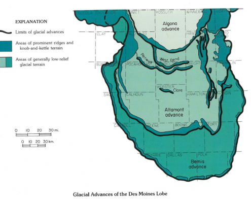 Map showing glacial advances of the Des Moines Lobe in Iowa