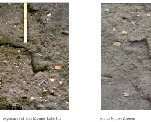 Close-up photos of exposures of Des Moines Lobe till.