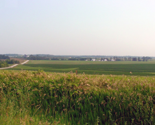 Sweeping view of Iowa's green rolling farmlands near North Liberty