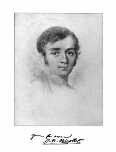 A black and white drawing of a person
