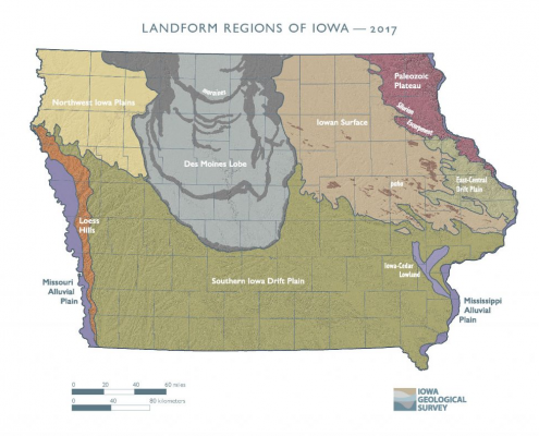 Colorful map showing Iowa's different landforms