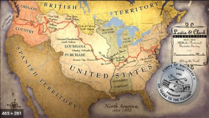 Map of Lewis and Clark's journey across the North American continent.