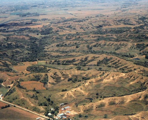 Aerial view of Iowa's scenic loess hills' peaks and valleys