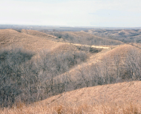 A scenic landscape of hills and valleys in western Iowa