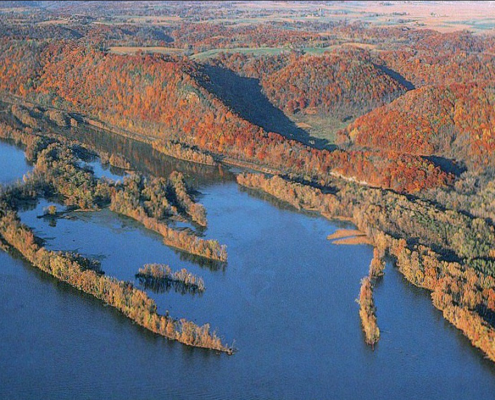 Aerial view of northeast Iowa and rivers in the fall