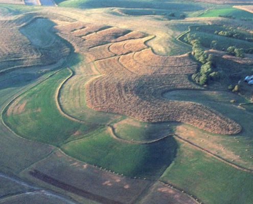 Aerial view of Iowa County terrain showing loess-capped hills.