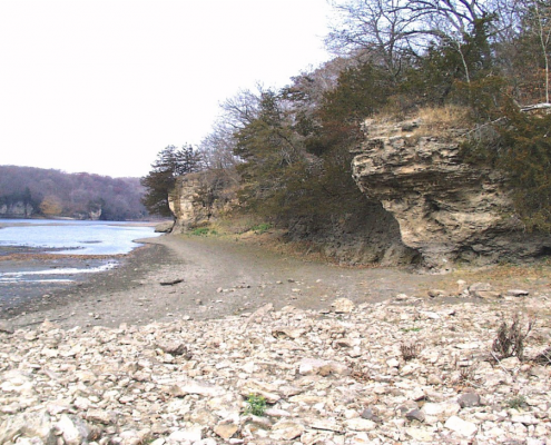 Rocky outcrop along the Cedar River in Palisades-Kepler State Park near Mt. Vernon, Iowa