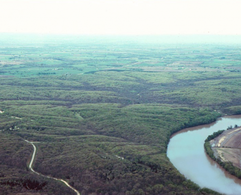 Aerial view of river flowing through Van Buren County's Lacey-Keosauqua State Park