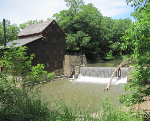 The restored mill and dam at Wildcat Den State Park