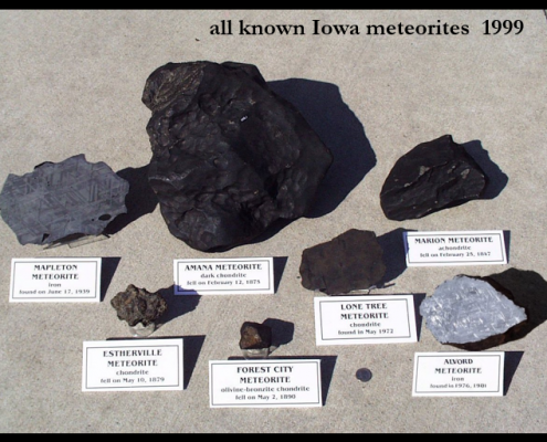 A photo of all 7 known meteorites from 1999