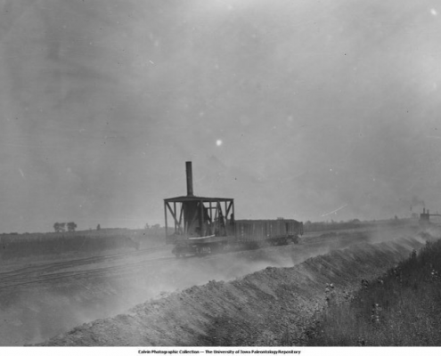 Old black and white image of a railroad car at the Mystic Coal Mines, c. 1890. Photo courtesy of University of Iowa Libraries Calvin Collection