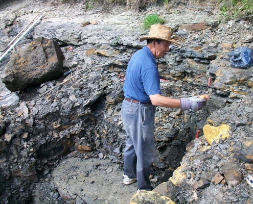 H. Paul Liu digging for fossils in northeast Iowa