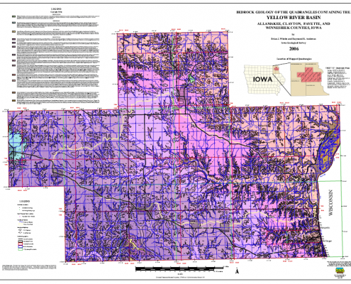 Colorful map in pinks and purples showing geology of northeast Iowa