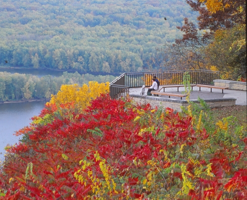 Colorful red and yellow autumn leaves at a scenic overlook of the Mississippi River