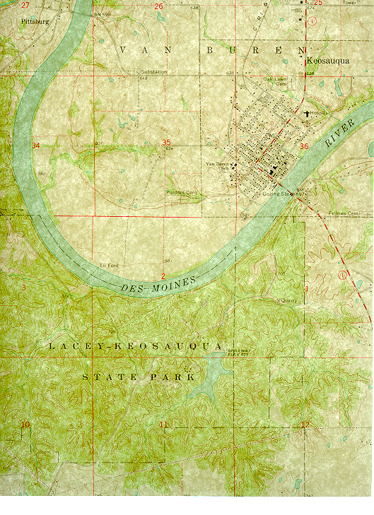 Map of the Big Bend area of the Des Moines River
