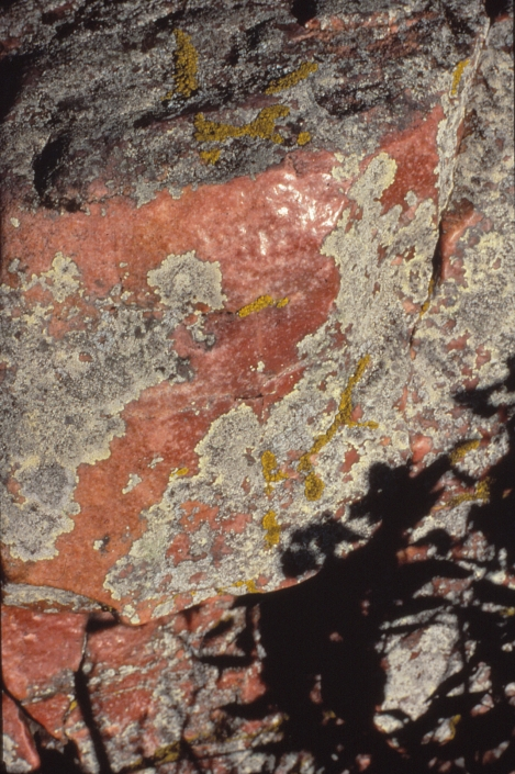 Red and gray mottled rock
