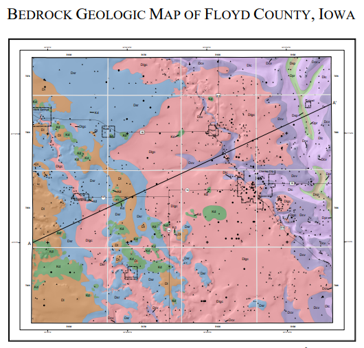 Colorful map created for StateMap project of Floyd County, Iowa