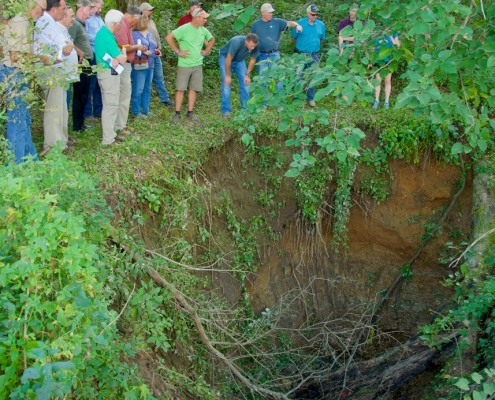 A crowd of people looks down into a gigantic sinkhole