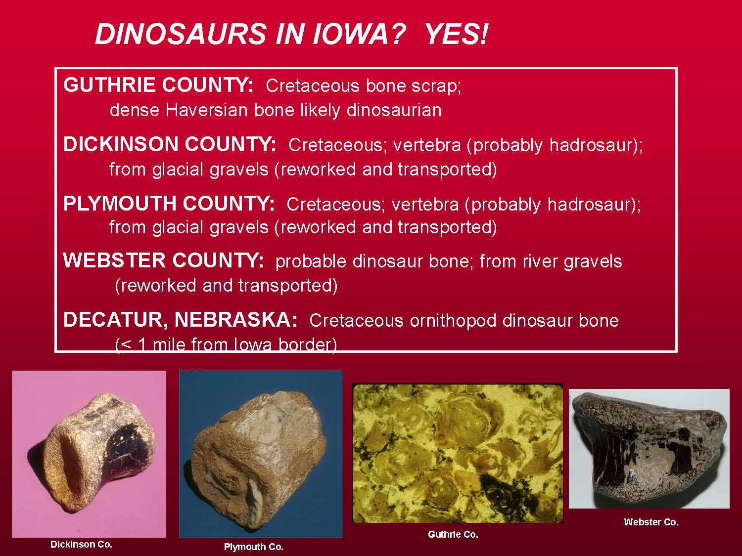 Locations of dinosaur fossils in Iowa