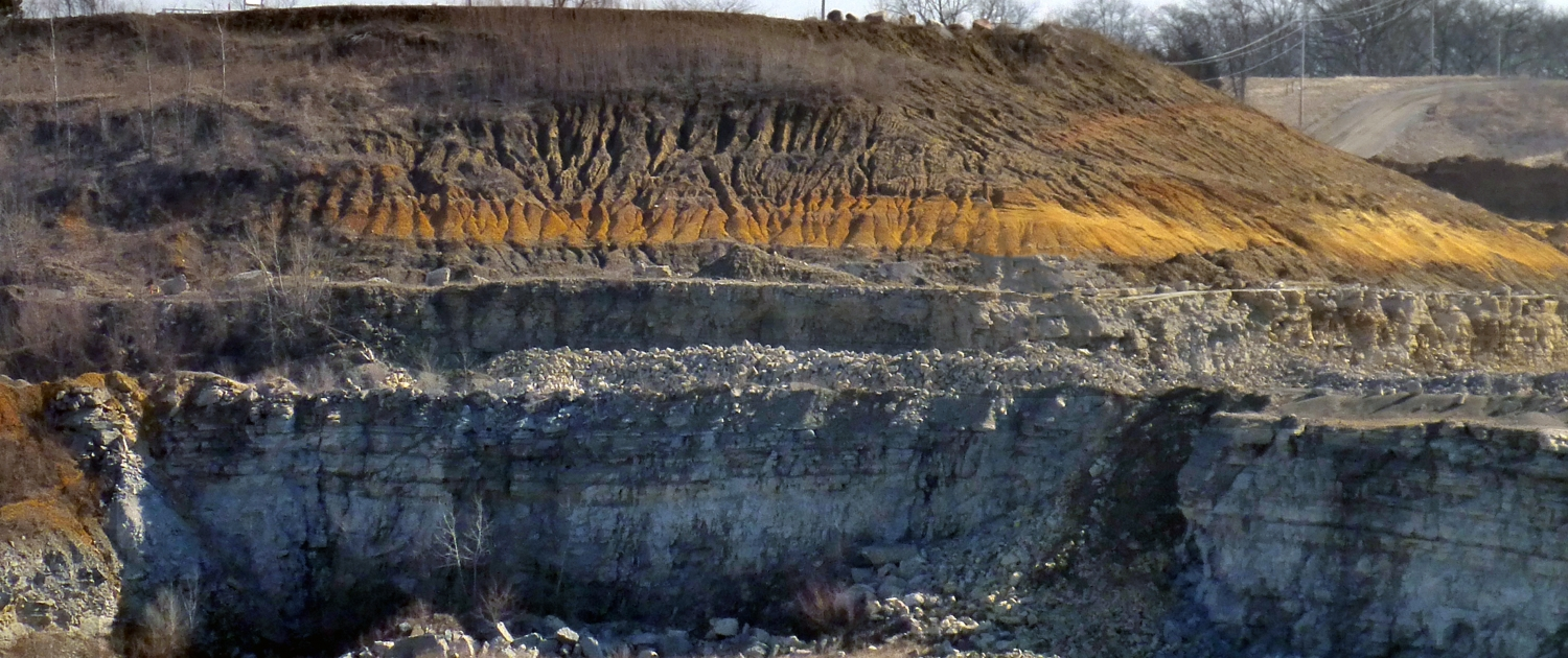 Quaternary strata sits atop Devonian bedrock in Johnson County, Iowa
